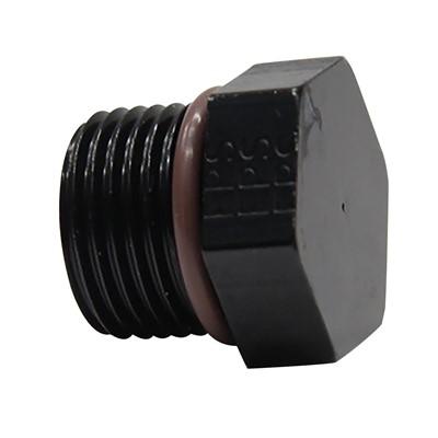 Plug, -4AN Male O-Ring (ORB), Alm, BLK