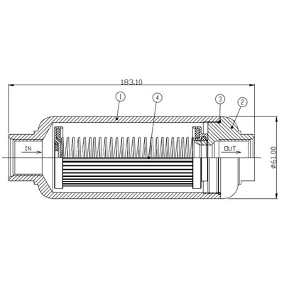 Fuel Filter Housing, Ø61mm -12ORB, BLACK Image 1