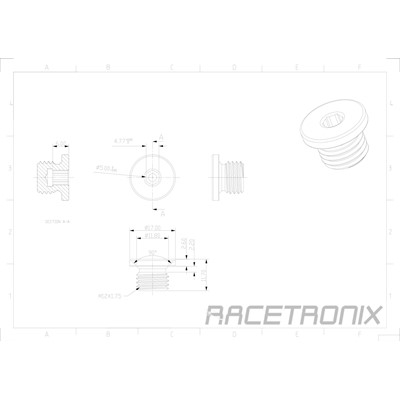 Metric Hex Plug, M12x1.75, BLACK Image 1
